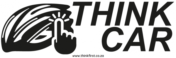 Think Car! Bicycle Helmet Sticker - Black